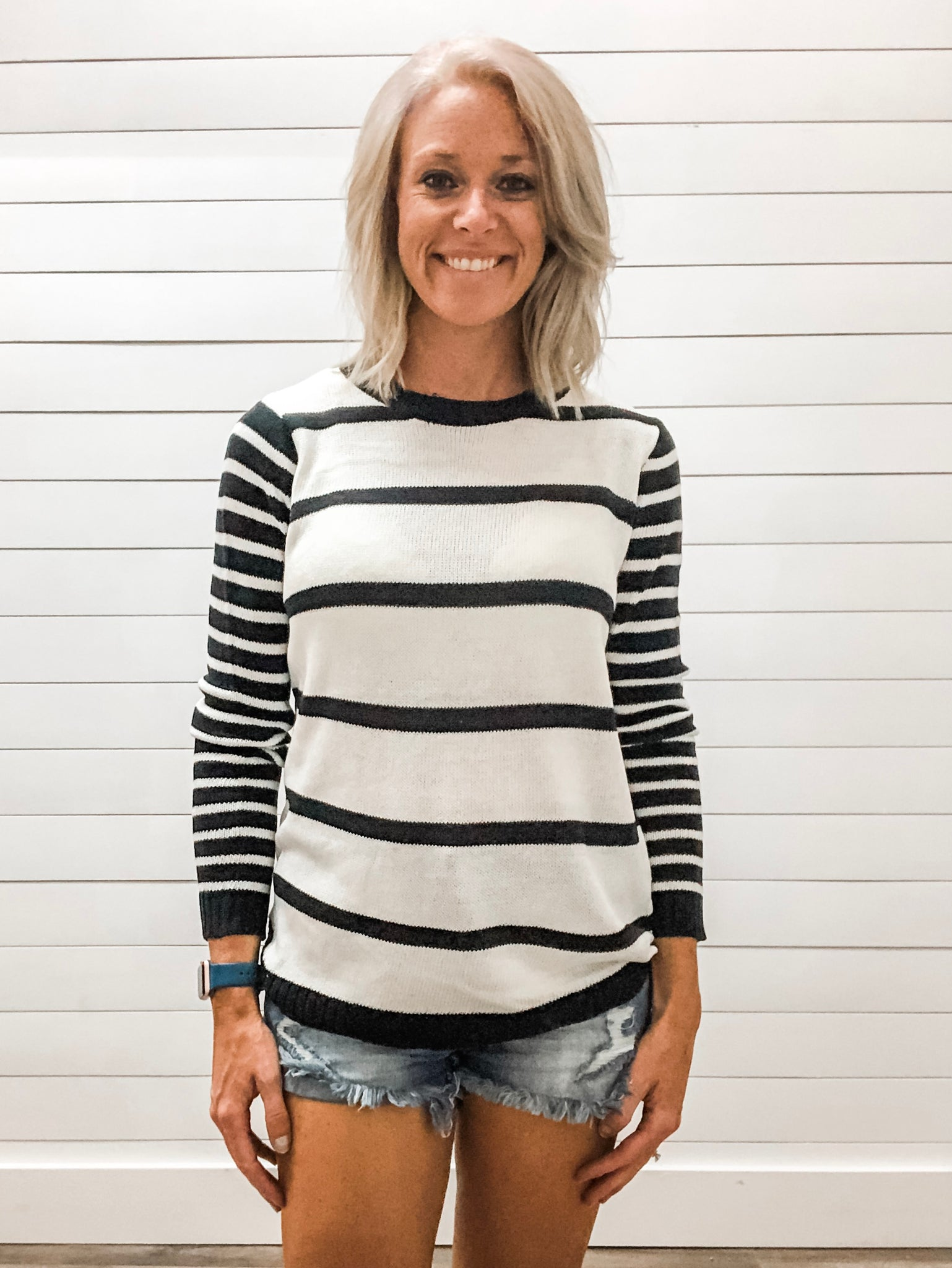 Crew Neck, Mixed Stripe, Long Sleeve, High Lo, Pullover Sweater Top
