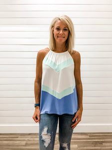 Halter Neck Color Block Top