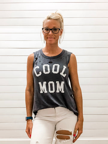 Cool Mom Distressed Graphic Top