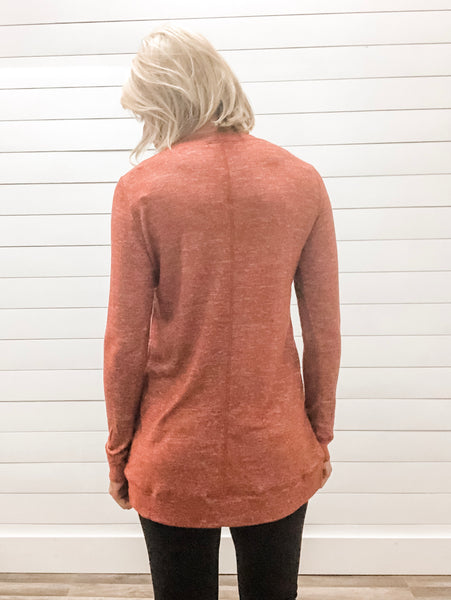 Round Neck, Tulip Hem. Long Sleeve Brushed Top