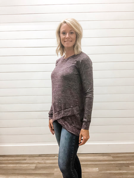 Round Neck, Tulip Hem, Long Sleeve, Brushed Top