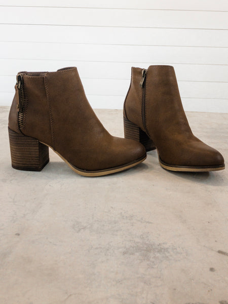 Casual Wooden Block Heel Short Booties