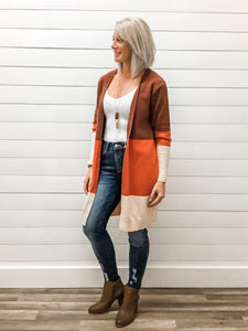 Three Color Block Knit Long Cardigan