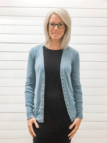 Titanium Snap Button Cardigan with Ribbed Detail Neckline
