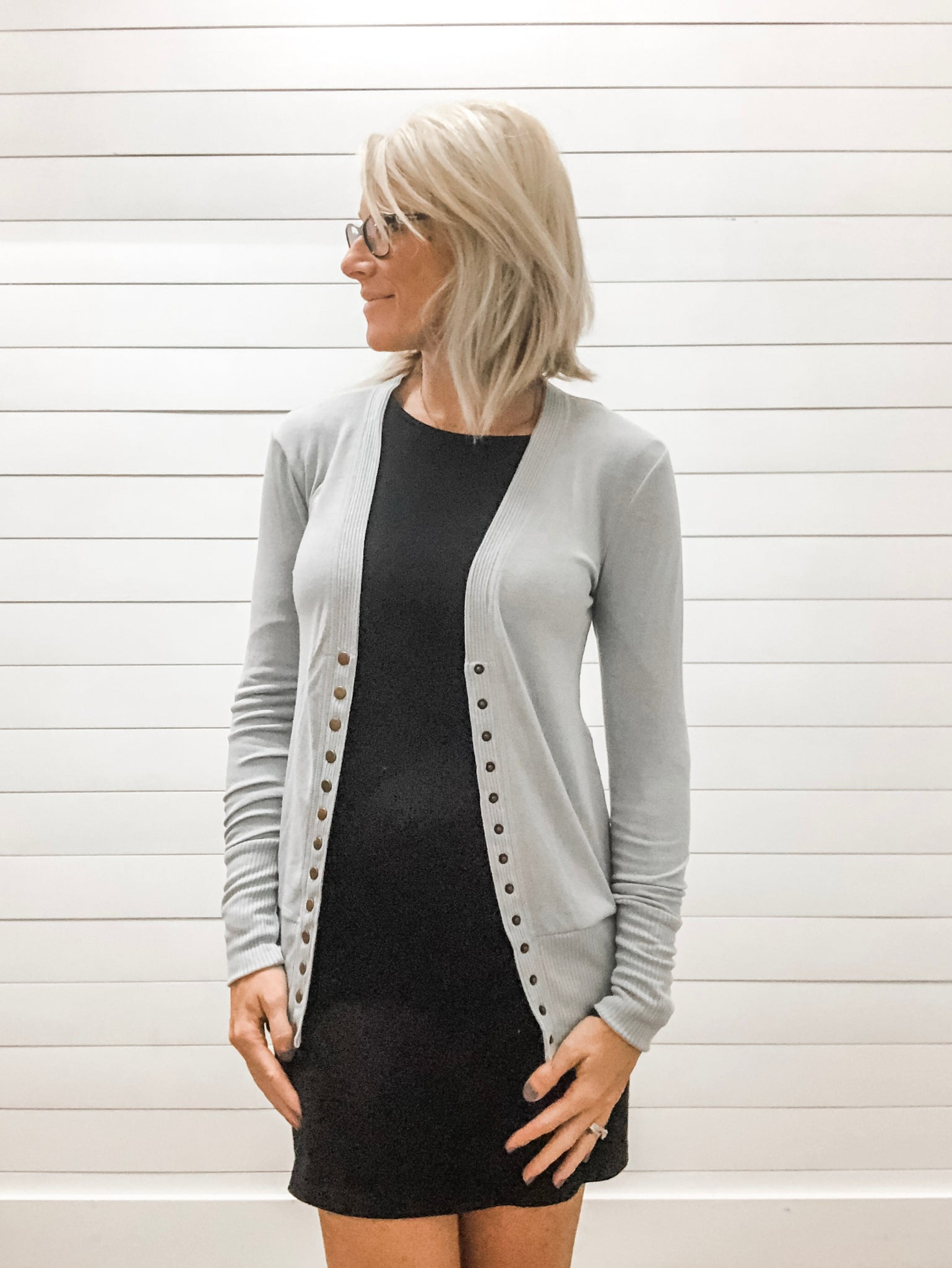 Light Grey Snap Button Cardigan with Ribbed Detail Neckline