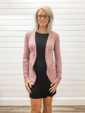 Light Rose Snap Button Cardigan with Ribbed Detail Neckline
