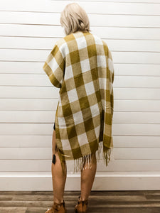 Buffalo Plaid Check Kimono with Fringe