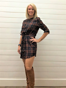 Perfect Fall Button Up Plaid Dress