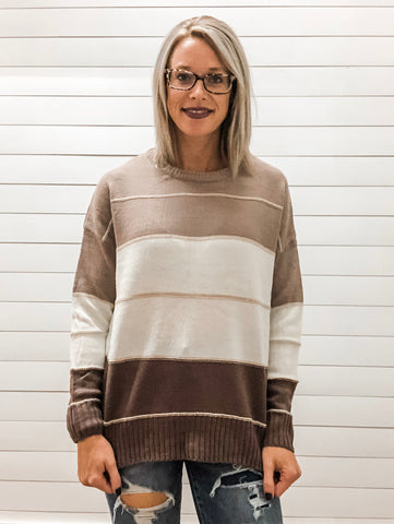 Round Neck, Long Sleeve, Side Slits, Color Block Stripe Sweater