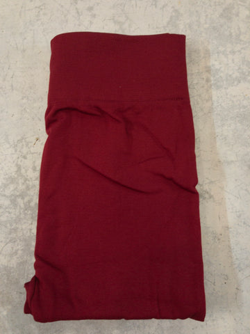 Burgundy Brushed, Fleece Lined Leggings with High Waist