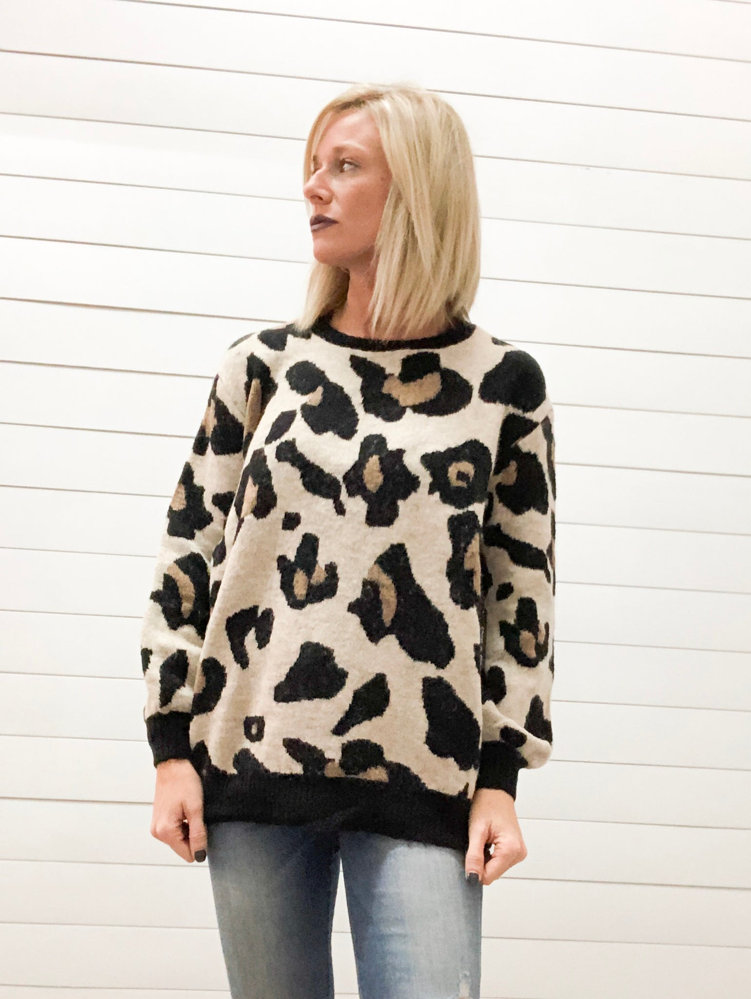 Large Scale Animal Print Sweater Top