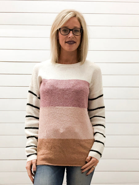 Blocked Color Sweater Top with Striped Sleeve