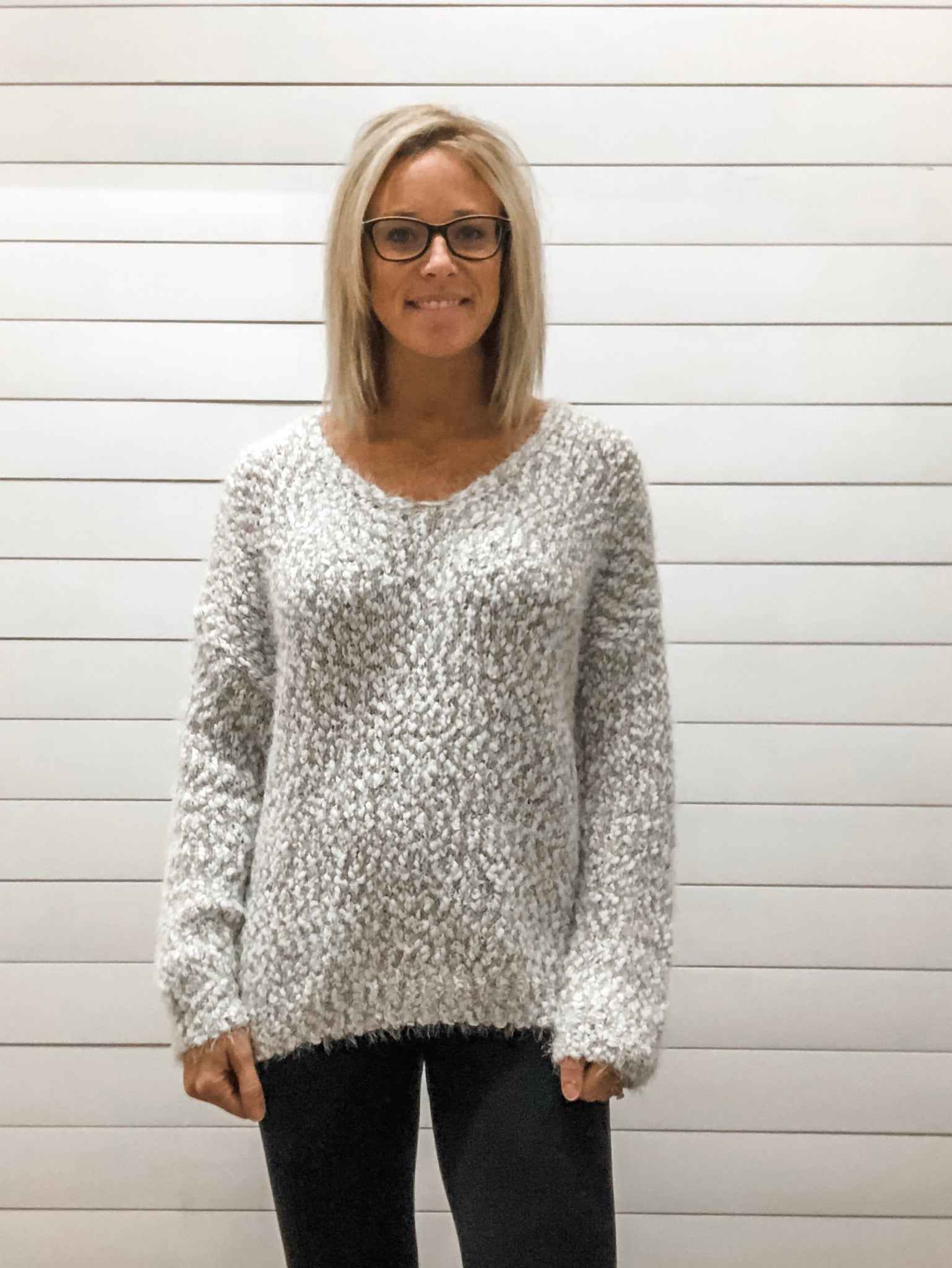 Fuzzy Knit Sweater Top with Deep V Neckline