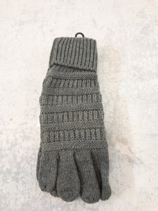 Dark Grey Knitted Touch Screen Compatible Gloves