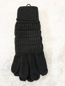 Black Knitted Touch Screen Compatible Gloves