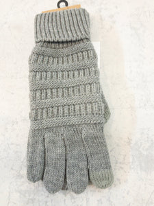 Light Grey Knitted Touch Screen Compatible Gloves