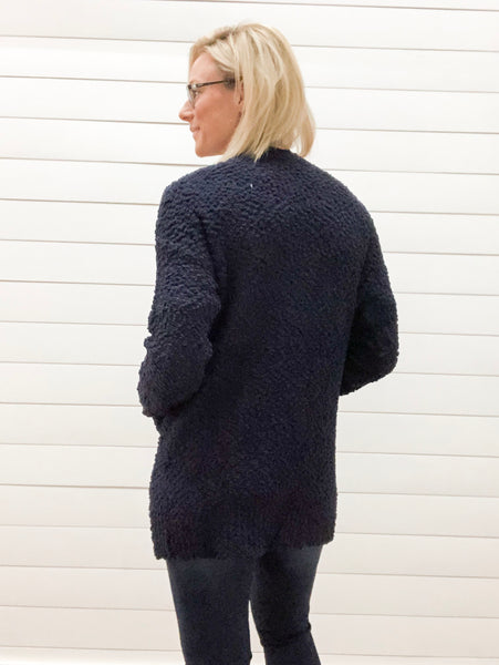 Long Sleeve, Open Front, Solid Popcorn Cardigan with Pockets