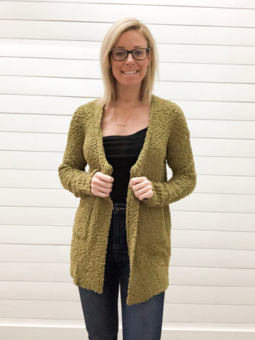 Long Sleeve, Open Front, Solid Popcorn Cardigan