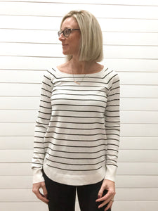 Boat Neck, Long Sleeve, U Shape Bottom, Striped Pullover