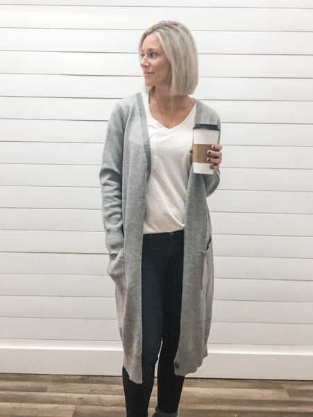 Button Down Long Cardigan with Pockets