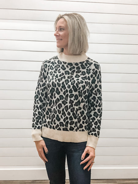 Long Sleeve Leopard Print Sweater Top