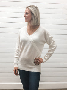 V-Neck Wrap Front Long Sleeve Sweater