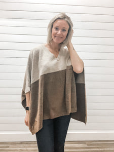 Poncho Style Oversize Contrast Top