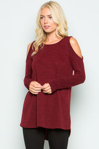 Round Neck, Long Sleeve, Hi-Low Sweater with Cold Shoulder Sleeves