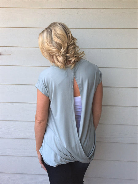 Solid Round Neck Keyhole Back Layered Top