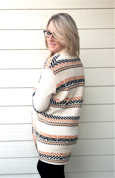 Horizontal Geo Stripes Motive, Long Sleeve, Open Front Cardigan