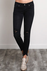 Destroyed Tears Skinny Cropped Jeans