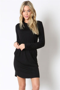 Dress with Shirred Flared Waist, Front Pockets and Roll Up Sleeves