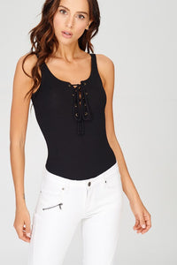 Basic Lace up Ribbed Bodysuit
