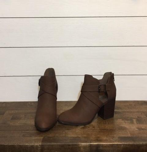 Light Brown Bootie with Side Buckle