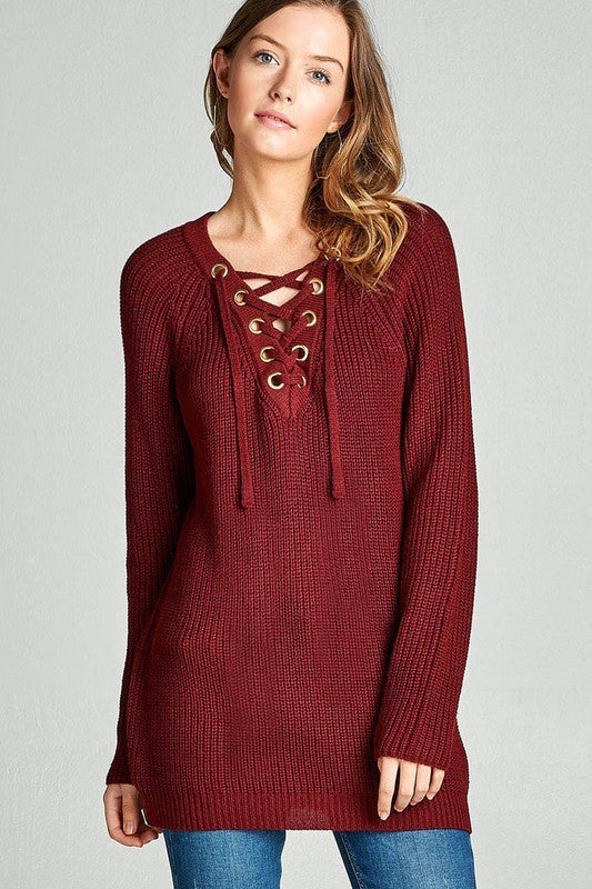 Long Sleeve Eyelet Lace Up V Neck Solid Sweater Top