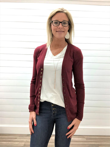 Cabernet Long Sleeve Snap Button Cardigan