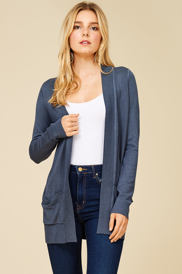 Oversized Premium Rib Contrast Band Open Front Long Sleeve Solid Everyday  Cardigan with Two Pockets in ... a782637e6