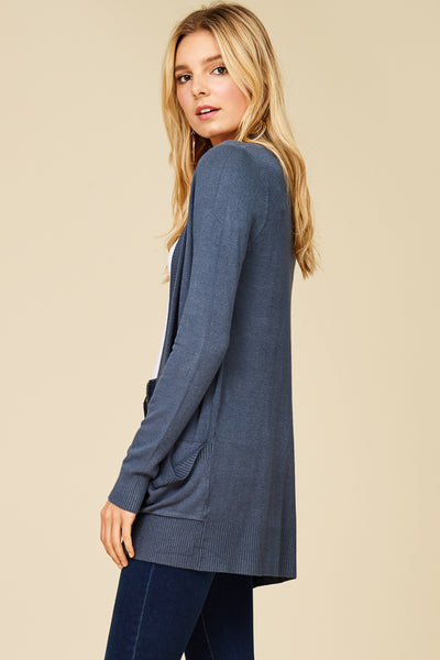 Oversized Premium Rib Contrast Band Open Front Long Sleeve Solid Everyday Cardigan with Two Pockets in Front