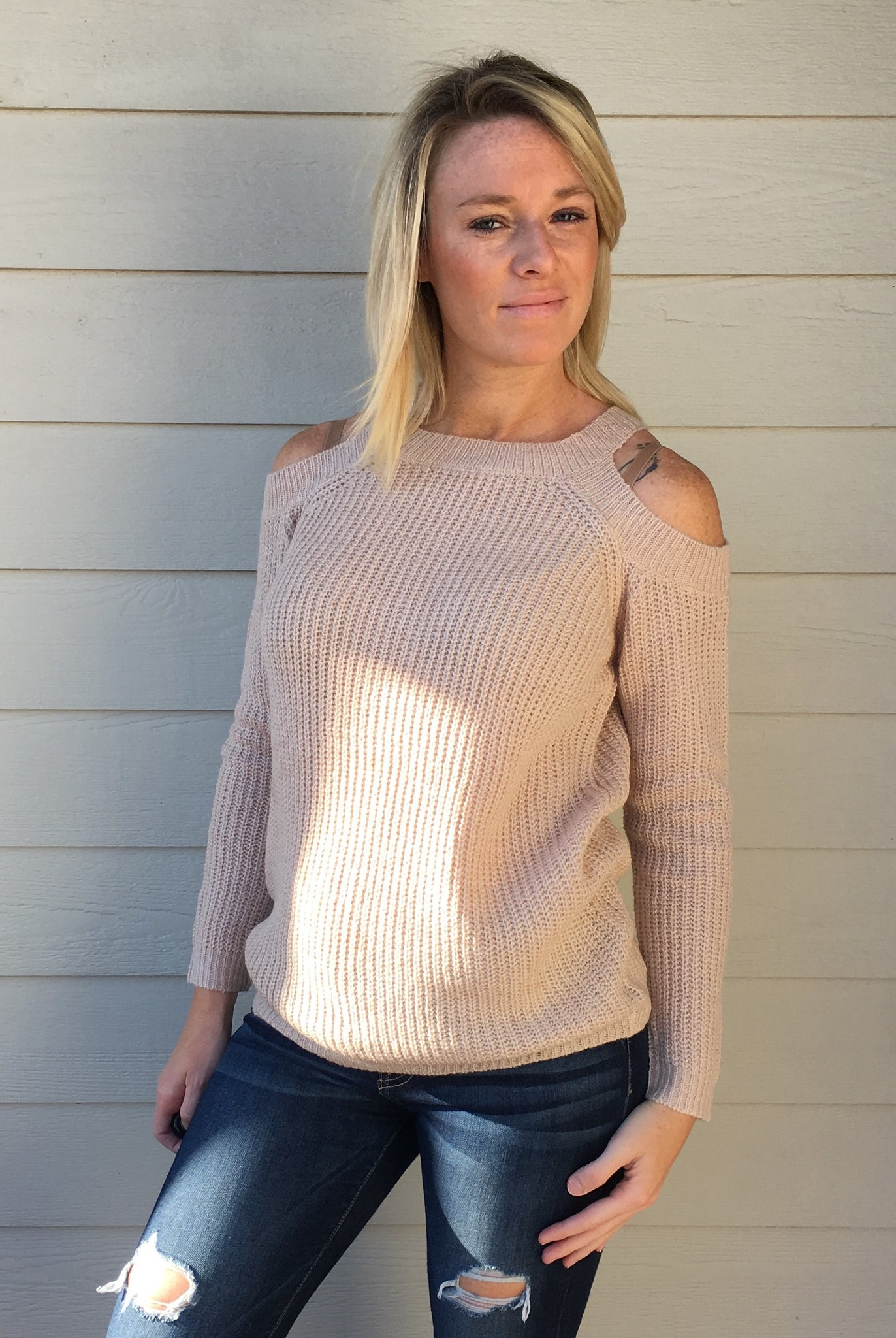 Crew Neck, Cold Shoulder, Long Sleeve Pull Over Sweater Top