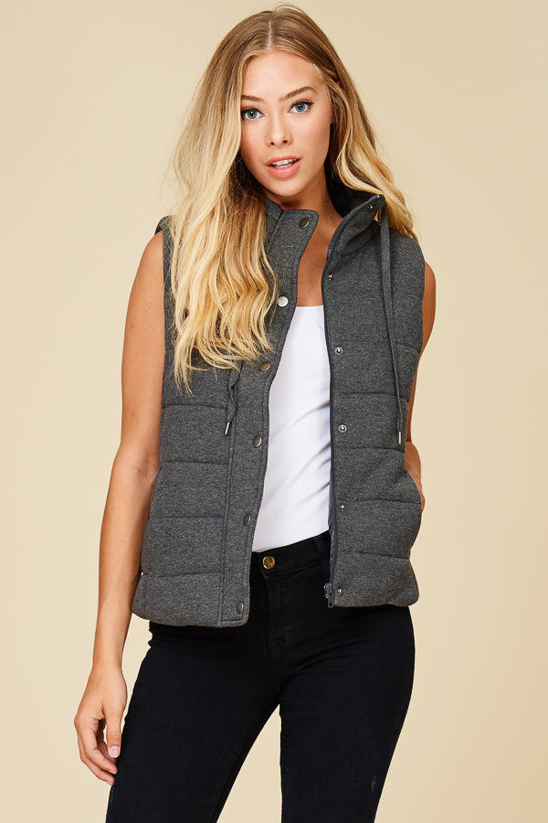 French Terry Padding Vest with Pockets