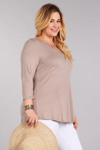 Solid 3/4 Sleeve Top