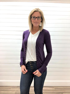 Dark Purple Long Sleeve Snap Button Cardigan