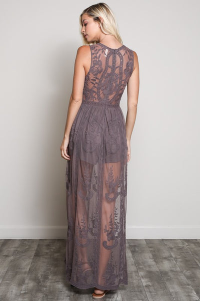 Sleeveless Sheer Embroidered Mesh Lace with PLunging V-Neck Lined Maxi Dress
