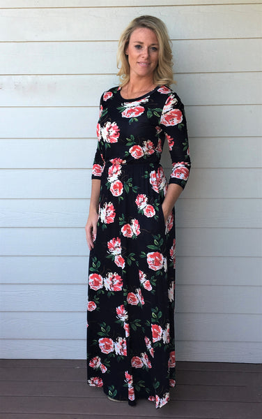 3/4 Sleeve Comfy Fitted Floral Maxi Dress with Inside Pocket