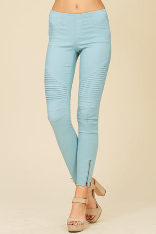 Washed Moto Jeggings with Pintuck & Zipper Detail