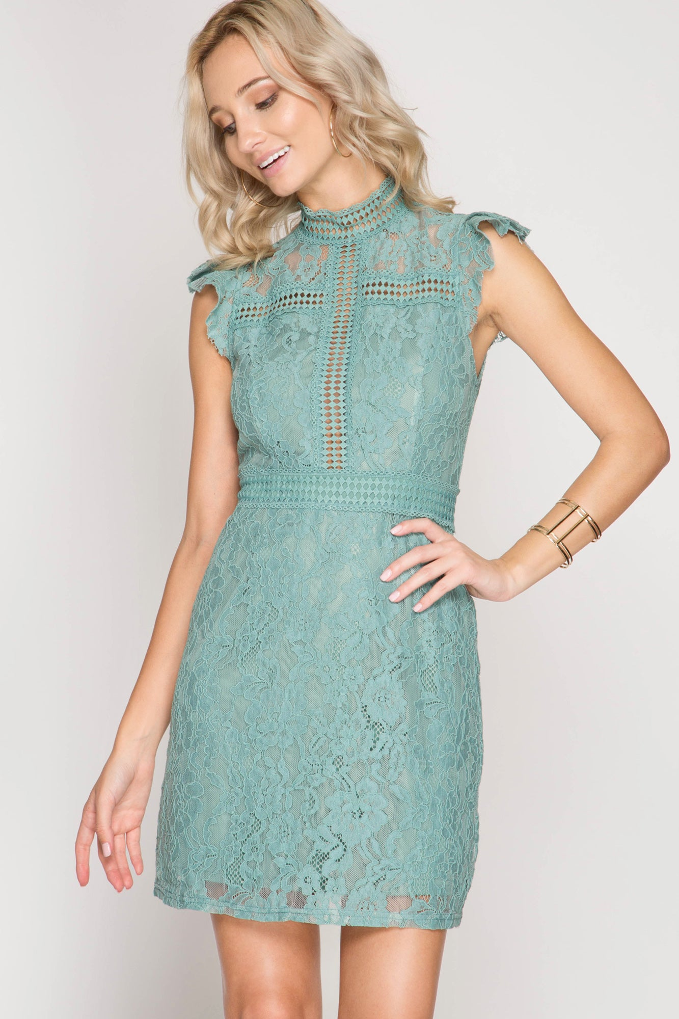 Ruffled Sleeve, High Neck, Crochet & Lace Dress with Lining