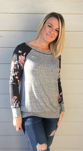 Boat Neck, French Terry Floral Print Contrasted Long Sleeve, Brushed Hacci Tunic Top
