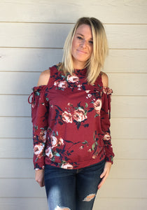 Crew Neck, Cold Shoulder, Draw String Tie Detailed French Terry Floral Print Knit Top