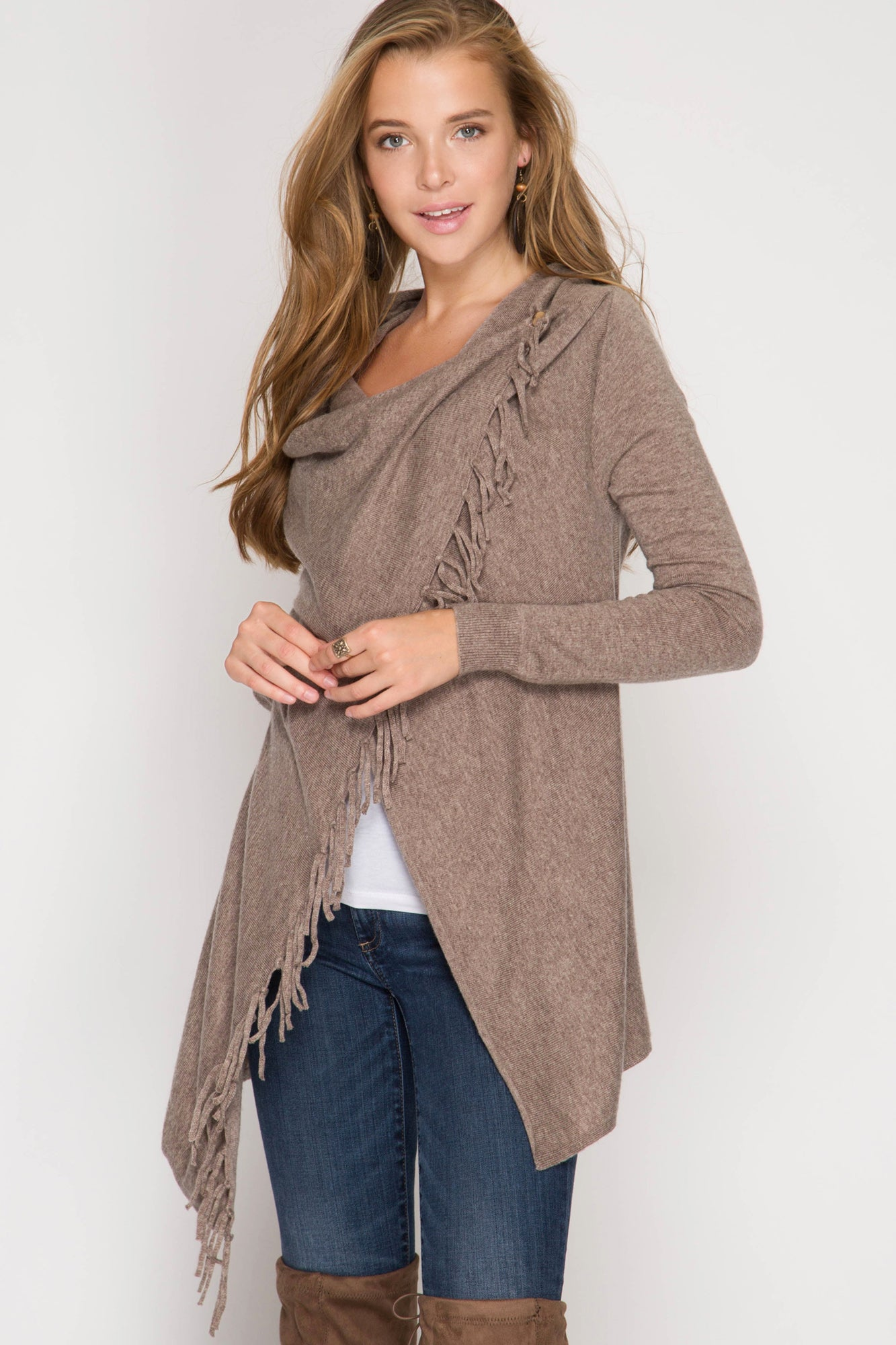 Long Sleeve Sweater Cardigan Wrap with Fringe