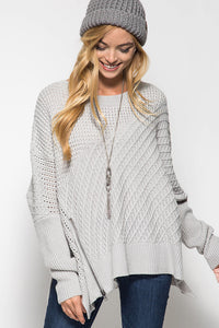 Long Sleeve Oversized Sweater with Front Zipper Detail